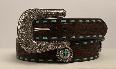Nocona Brown Leather Womens Jeweled Conchos Belt