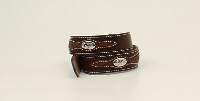 Nocona Brown Leather Boys Embossed Overlay Belt
