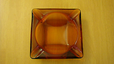"Vintage Retro Amber Gold Thick Heavy Glass 4.5"" Square Cigarette Cigar Ashtray"