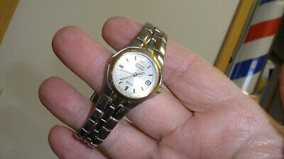 citizen eco drive womens watch gold/silver tone date nice 6 1/4 in wrist fit