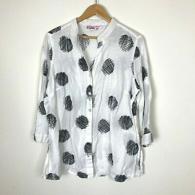46f10f06d6c LILY STANHOPE WOMAN Linen Black Off White Polka Dot Tunic Blouse Top ...