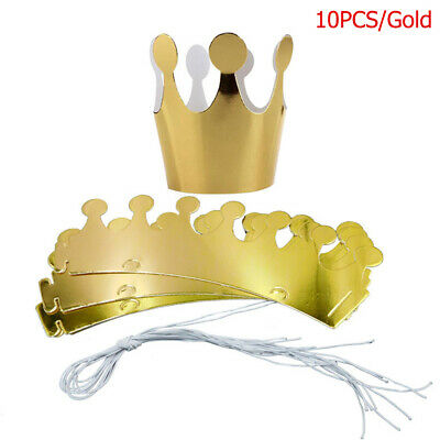 10pcs Paper Crown Hats Birthday Party Prince Princess Hat King Crowns NICE