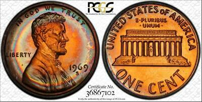 1969-S  1 Cent Lincoln Memorial Penny Pcgs Pr66Rb Beautiful & Circle Toned!!
