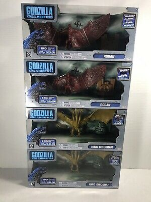 "GODZILLA KING OF THE MONSTERS 2019 MOVIE 6"" 2-King Ghidorah 2-Rodan 4 Figure Lot"