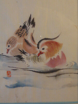 Antique 19th Century Hosui Ohba (1837 - ?) 1895 Oriental Asian Birds Watercolor