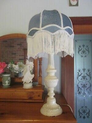 Large Vintage Shabby Chic Lamp Base and Blue Victorian Shade