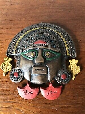 Vintage Pottery Peruvian Traditional Mask Ethnic Art Hand Made Peru