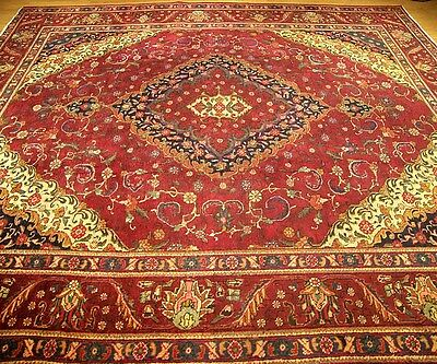 9.9 x 12.9  Handmade Hand Knotted High Quality Persian Antique 1930s Wool Rug