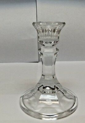 4 1/2 inch tall glass candelstick holders 3 1/2inch base crystal