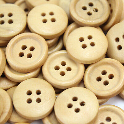 100pcs 15mm Round Yellow Wooden Wood Buttons Sewing Scrapbooking Craft 4 Holes k
