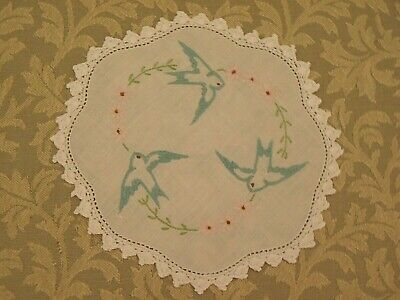 Vintage Swallow Doily Hand Embroidered 2 birds & pink flowers Crochet Border