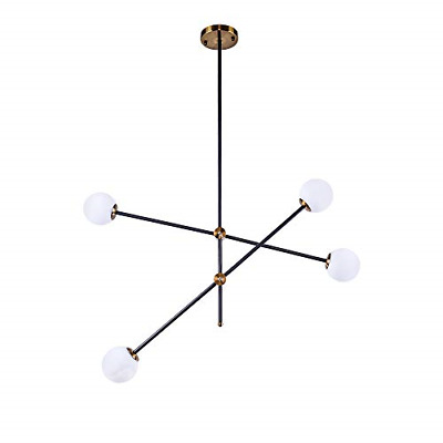 Lingkai Modern Sputnik Chandelier 4-Light Ceiling Light Creative Frosted Globe