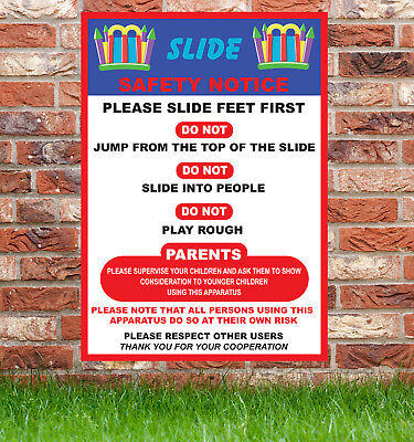 1 X Slide Safety Sign Bouncy Castle Disco Dome Fetes Kids Parties