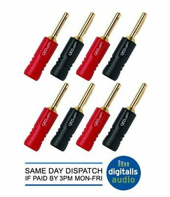 8 QED Screwloc Forte Gold Plated 4mm Banana Plugs for Speakers and Amplifiers