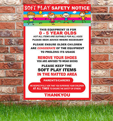 1 X Soft Play Safety Signs,Bouncy Castle, Slide, Fun Fare,Village Fetes, Parties