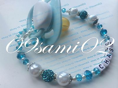 Personalised Baby Boys ❤ Bling Dummy Clip, Pearl & Crystal ❤romany❤