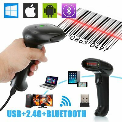 2.4G Cordless Bluetooth Barcode Scanner Reader for IOS Android Windows 7/8/10 AU