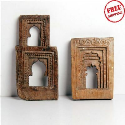 1850'S Indian Antique Hand Carved Old Wooden Wall Hanging Frame / Temple 27