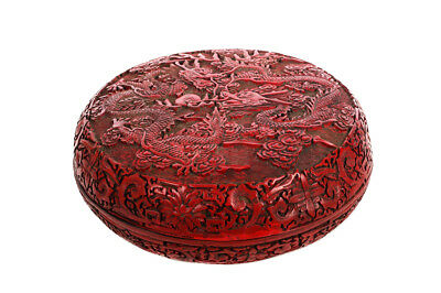 Antique Chinese Carved Cinnabar Round lidded Box