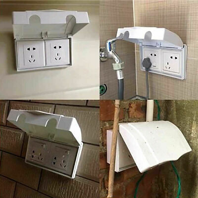 UK White Baby Child Safety Box Electric Plug Cover Double Socket Protector