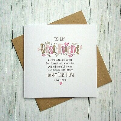 Amazing Birthday Card Best Friend Card Bestie Friend Handmade Greeting Personalised Birthday Cards Veneteletsinfo