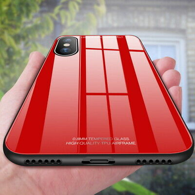 For iPhone X XR XS Max Tempered Glass Mirror Back Hard Case Rubber Bumper Cover