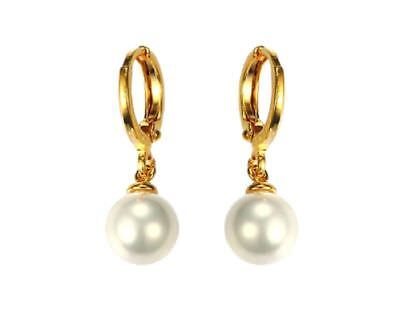 Korean 18K Gold Plated Fashion jewelry Women's Pearl Drop Dangle Earrings