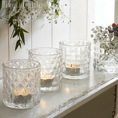 Set Of 4 7 x 7cm Glass Tea Light Holders 4 PCS Home Decor & Gifts Candle Pot