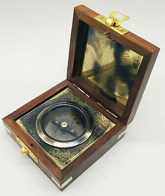 Antique Maritime Brass Magnetic Nautical Compass in Wooden Box Collectible Decor