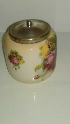 Antique Vintage cream container with rose pattern and silver epns lid