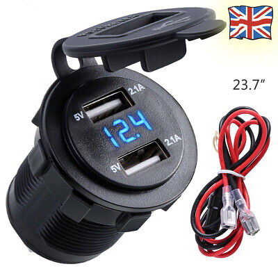 4.2A Dual USB Car Charger Socket Adapter Waterproof Power Outlet for Car/Boat UK