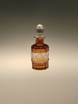 Bohemian Czech Art Deco Cubist Glass Perfume Bottle Flacon Amber Clear by Palda
