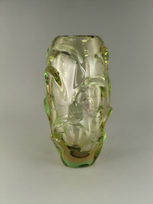 Bohemian Czech Skrdlovice Art Glass Green-Amber Sommerso Uranium Vase by Beranek