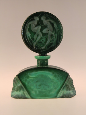 Bohemian Czech Significant Art Deco Malachite Jade Glass Perfume Bottle Lovers