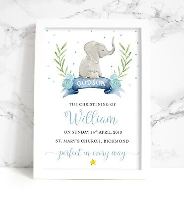 Godson Goddaughter Personalised Baby Elephant Christening A4 Print, Pink or Blue