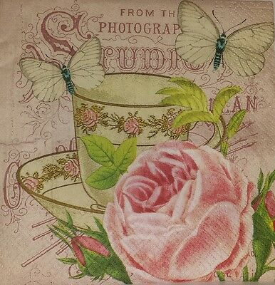 4 x Single Paper Napkins Tea Time Cup Jug for Decoupage Crafting and Table 28
