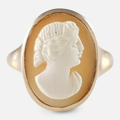 Antique Art Deco Period 9Ct Yellow Gold Classical Female Cameo Ring 1916