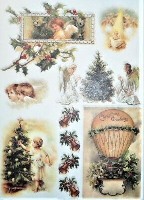 Rice Papers Christmas Angels Decoupage Scrapbook and Crafting Sheet 197