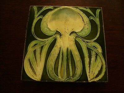 Organic Art Nouveau Majolica Floral Antique tile with green ground  19/64