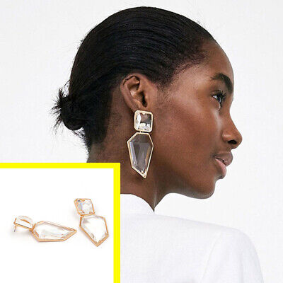 Noverlty Trendy Geometric Acrylic Statement Drop Earrings Clear Stone Ear Stud