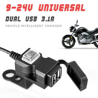Waterproof Dual USB Port Motorcycle Handlebar Charger Socket Switch+Mount 12-24V
