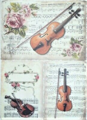 Rice Paper for Decoupage Scrapbook Craft Sheet Steampunk Women with Violin