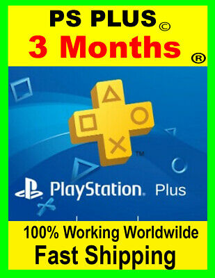 Playstation plus 3 Month PlayStation PS Plus PS4-PS3 PSN  ( NO CODE )
