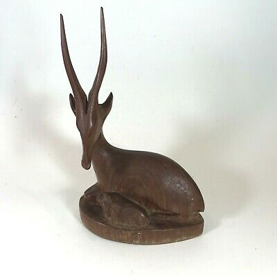 """Hand Carved Wood Gazelle w Fawn Antelope Antlers Parent w Baby 8x5x2.5"""""""