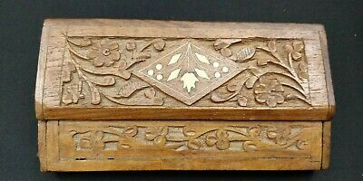 Antique Hand CARVED Wooden PENCIL Pen BOX Case Inlay