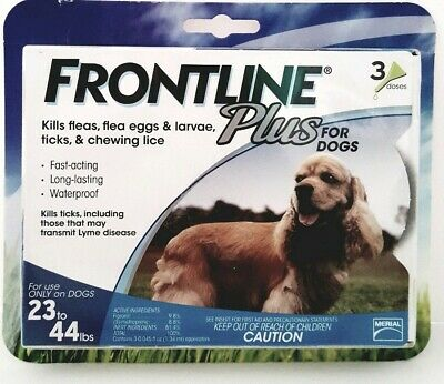 Frontline Plus Flea & Tick Control for Medium Dogs 23-44 lbs 3 Doses New Sealed