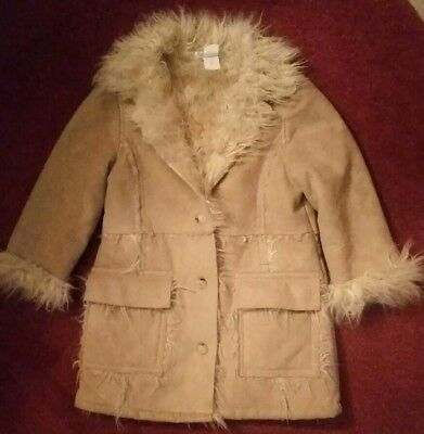 Unique Vintage Girls Sz 6X Faux Suede Shearling Sheepskin Coat ~ Made in ITALY
