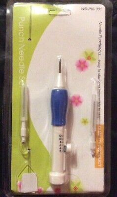 Sewing Embroidery Stitching Punch 3 Needle 2 Threader DIY Guide Craft Tool Set