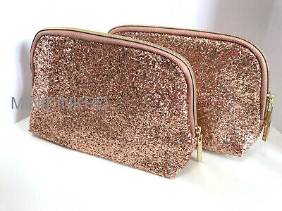 06ad7725fcd8 2X LANCOME ROSE Gold Pink Blush Glitter Makeup Cosmetic Zippered Pouch Bag