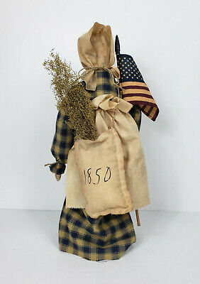 Primitive Country Patriotic Americana Prairie Doll With Flag On Stand